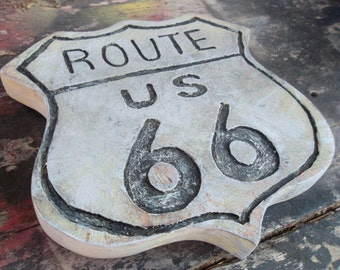 Route 66 wooden sign, distressed wall art, vintage street sign decor, carved 3d surface, worn rustic authentic wall hanging