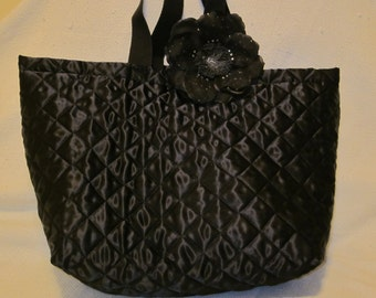 Black Polyester Tote / Reusable Grocery Bag with black chiffon flower