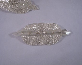 Silver Beaded Deco Design Applique with Stones--One Piece