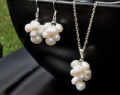 Earrings and Pendant Set: Pearl Cascade / Freshwater Pearls / Sterling Silver Chain Necklace