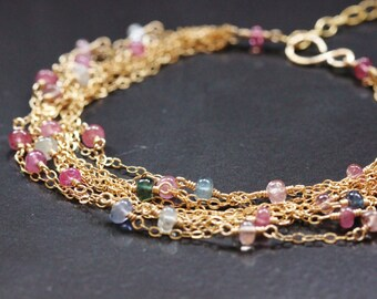 30% OFF - Pink Blue White Sapphire Bracelet, 14k Gold Filled, Wrapped September Birthstone, Delicate Chain, Adjustable