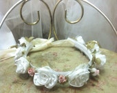 Ivory / Blush Hallow for Flower Girl / Double Ribbon