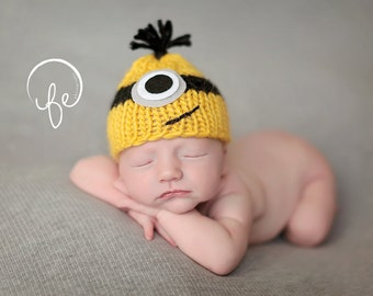 Minon  hat... baby monster hat..knit hat... photo prop... newborn photograph prop...25% off at checkout with code AUGUST1
