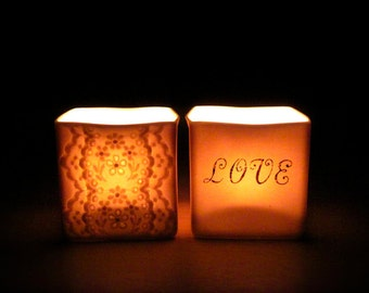 Handmade Ceramic Lace and Love, Romantic Pair of Tea Light Votives, Porcelain Translucent Candle Holders -Hideminy Lace Series