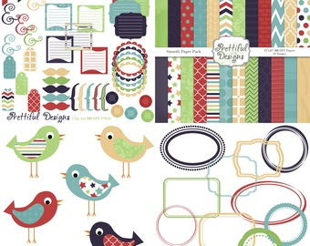 Digital Kit for Scrapbooking Digital Paper Pack Digital Frames Bird Clip Art Accessories Commercial Use-Smooth
