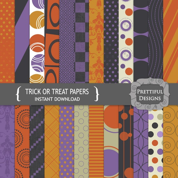 40% Off SALE Halloween Digital Paper Pack  for Scrapbooking, Invitations, Card Making, Commercial Use  - Trick or Treat (755)