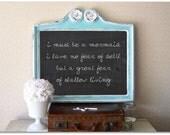 Antique Framed Chalkboard, Mermaid, Beach Cottage Frame, Wedding Chalkboard,