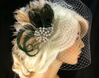 Rhinestone Pearl Bridal Feather Fascinator, Bridal Headpiece, Wedding Veil, Ivory, Champagne and Natural Peacock