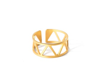 QUITO//RIO - Triangles and Zigzag Gold-coated brass ring FLORIPA (FBA08)