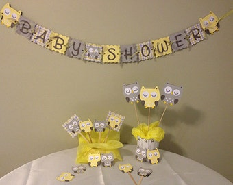 Owl Baby Shower Decorations Package - Owl Baby Shower - Yellow Grey White - Baby Neutral Shower Decor