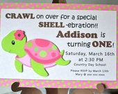 Girl Pink Ocean Sea TURTLE Baby Shower Invitation or First Birthday Invites