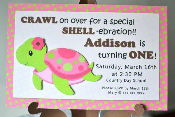 Pink Girl TURTLE First Birthday Party or Baby Shower – Turtle Birthday Invitations