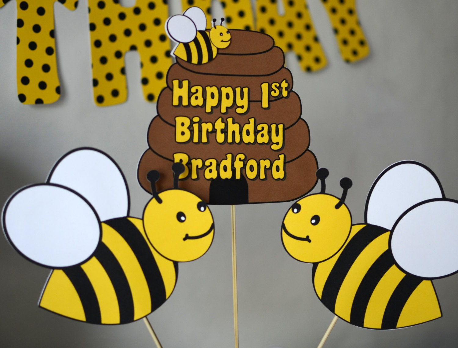 Bumble Bee Decorations Three Piece Centerpiece Honey Bee Party Decorations Bug Theme Birthday