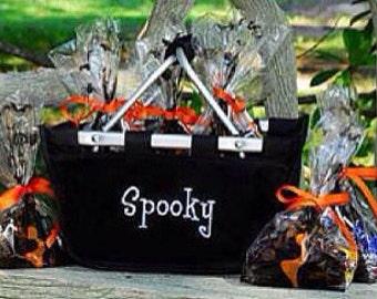 SHIPS NEXT DAY---Monogrammed Reusable Mini Market Tote Basket Black--The Perfect Halloween Treat Basket--Free Monogramming--