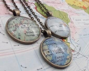 Custom Map Pendant, Medium Antique Bronze Necklace