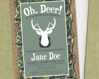 Buck Camo Invitation - DIY Printable - Baby Shower Invite - Hunting - Camouflage - Deer