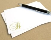 Monogrammed Stationery Set with Script Initial / Elegant Custom Stationary Note Cards / Personalized Stationery Set with Cursive Letter