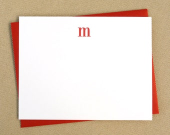 Simple Personalized Flat Stationery Cards with Lowercase Monogram / Set of 12 Cards and Envelopes - Choose Your Colors