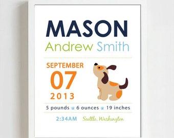 8 x 10 - Custom Birth Announcement Print - puppy