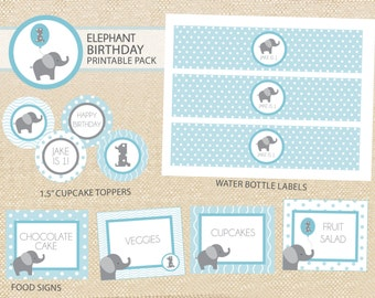 Elephant Baby Birthday Printable Party Pack - DIY