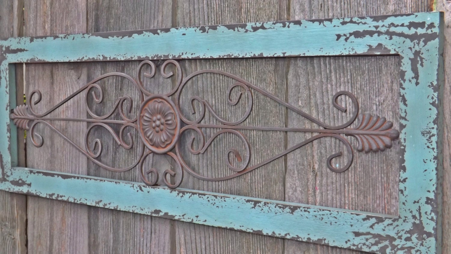 Wrought Iron Wall Decor With Wood Frame : Customer appreciation wrought iron ornate by theshabbyshak