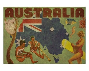 AUSTRALIA 2F- Handmade Leather Postcard / Note Card / Fridge Magnet - Travel Art