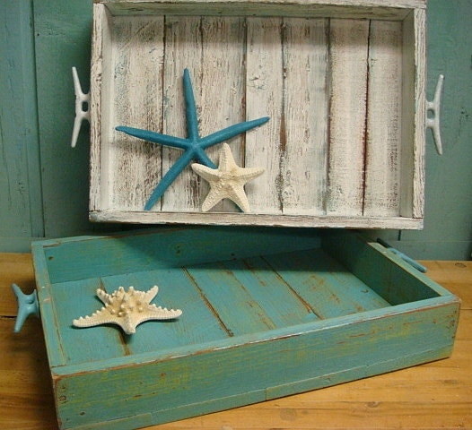 Serving Tray Weathered Wood Tray Beach House Nautical Country