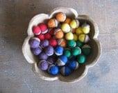Felted wool acorns, Primary Rainbow, wholesale set of 50, Montessori school supply, rainbow waldorf, gift for teacher, rainbow wool acorn