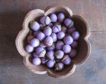 Felted wool acorns, Pastel Purple, wholesale set of 50