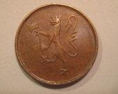 5 Ore Coin,  Bronze Norwegian Lion Coin, Norway, 1976, Engraver; Øivind Hansen