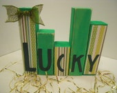 St. Patrick's Day LUCKY Mini Word Blocks Decoupaged, II