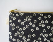 Sakura Flowers. Cherry Blossoms. Indigo. Pencil Case, Pencil Pouch. Traditional Japanese fabric print. Navy blue, Minimalist, Zen.