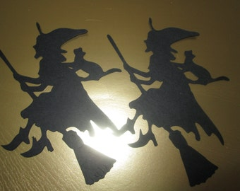 4 Halloween Witches with Cat Silhouette Die Cuts
