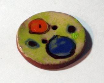 Handmade ceramic buttons -  pair of pottery buttons C10
