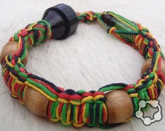 """Shhmokewear """"RASTA"""" Glass HEMP Wrist Hookah Bracelet Pipe"""