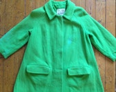 Lime Green 50s or 60s Wool Swing Coat