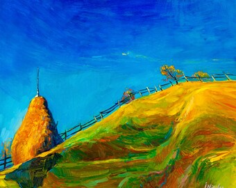 Green hill 18x21in, Original landscape impressionistic oil painting by Nikolov