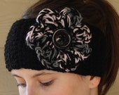 Crochet boho winter headband ear warmer headwrap - Adult size - black pink and gray