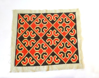 Vintage Needlework Pillow Front … Embroidered Square Panel, Geometric, Red Black and Yellow, Mod 1970s Needlepoint, Diamonds, Boho Textile