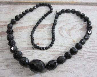 Jet Black Glass Beads