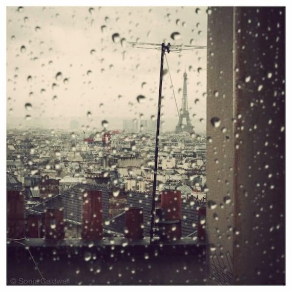 Morning rain -  Eiffel tower photo, Paris Photography, rain, Fall, Autumn, Winter, beige, brown - 8x8, 12x12 Original Fine Art Photograph