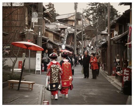 Kyoto Geishas  - Japan, rustic wall decor, travel photography, old Japanese buildings, red geisha  - 8x10 Original Fine Art Photograph