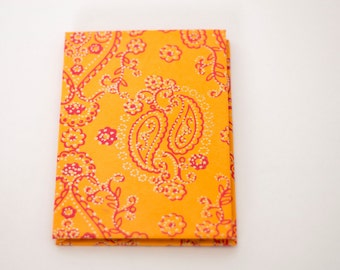 4x6 Orange Indian Paisley  Accordion Book