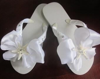 Wedding Flip Flops Sandals Wedges. Bride Flip Flops.Bridal Shoes. Bridal Sandals.Bridesmaids Flip Flops Sandals.Natural Starfish. Flip Flops