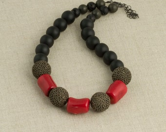 Red Coral Necklace Chinese Bead Black
