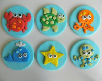 Sea Life - One dozen fondant cupcake toppers