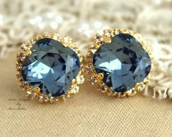 Blue Navy earrings, Swarovski earrings, Blue Navy stud swarovski Crystal earrings - Bridal earrings real swarovski rhinestones.