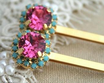 Bridal Bobby pins Swarovski Pink Turquoise Rhinestone hair accessories - 14k Gold plated aqua pink crystals