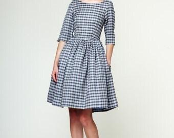 Boat Neck Checkered Linen Dress by Mrs Pomeranz