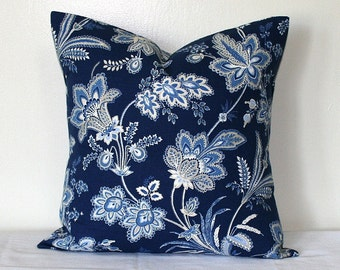 Jacobean Blue Floral, 18 x18 inch Cotton Pillow, Waverly Toss Pillow, Decorative Home Decor Cushion Cover